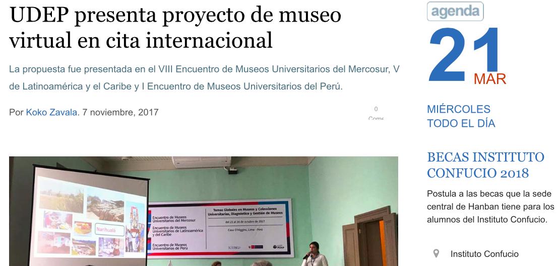 UDEP presenta proyecto de museo virtual en cita internacional